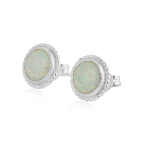 6MM White Opal Stud Earrings | Image 1