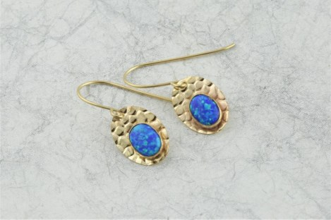 Dark Blue Opal Gold Drop Earrings | Image 1