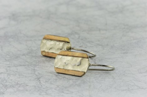 Gold and silver hammered drop earrings | Image 1