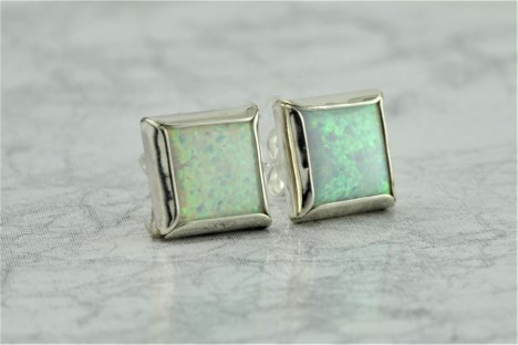 White opal square stud earrings | Image 1