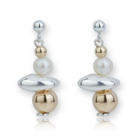 Gold and Silver Pearl Drop Nugget Earrings | Image 1