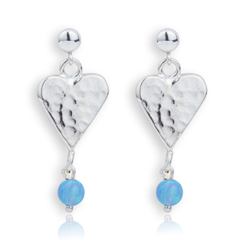 Sterling Silver Heart and Opal Drop Earrings | Image 1
