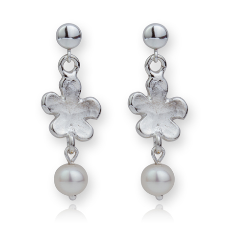 Silver Daisy Pearl Drop Earrings WAS £55 NOW £39 | Image 1