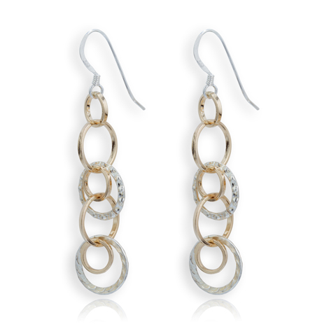 Gold and Silver Trilinks Drop Earrings | Image 1