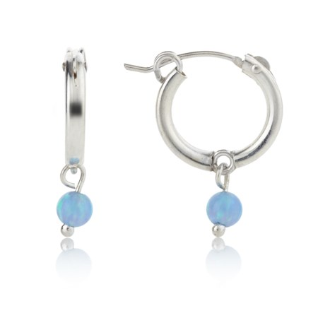 Small Sterling Silver Opal Hoops | Image 1