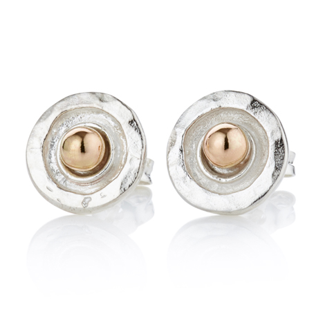 Gold and Silver Hammered Stud Earrings | Image 1