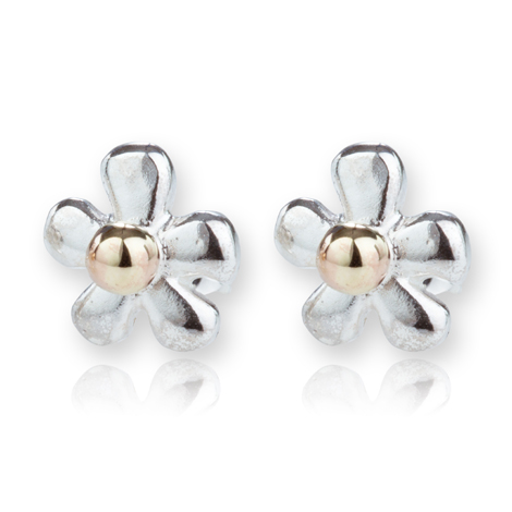 Gold and Silver Daisy Stud Earrings  | Image 1