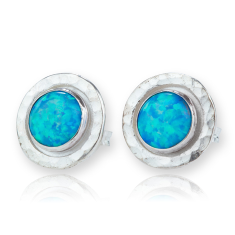 Sterling Silver Hammered Opal Stud Earrings | Image 1