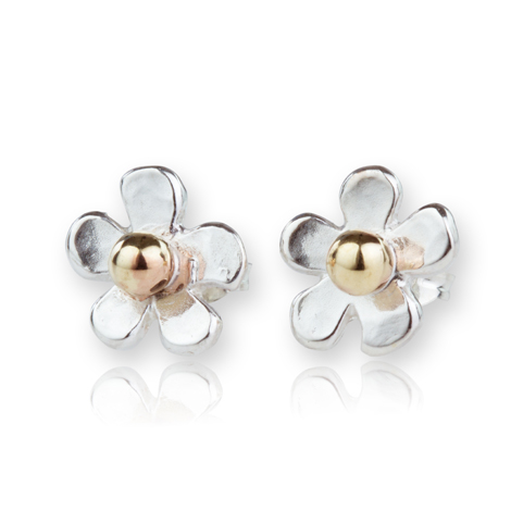 Gold and Silver Daisy Hammered Stud Earrings | Image 1
