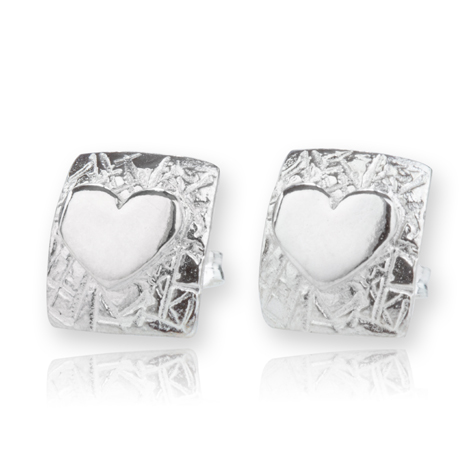 Sterling Silver Square Stud Earrings with Heart | Image 1