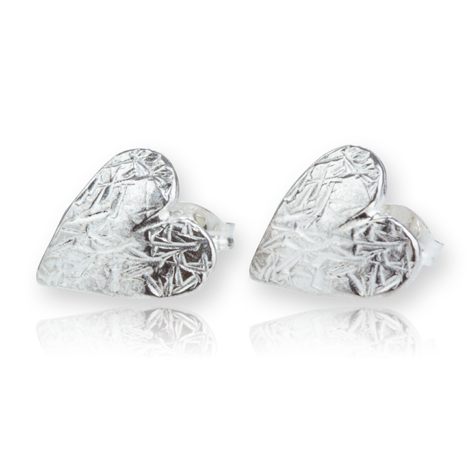 Sterling Silver Etched Heart Stud Earrings | Image 1