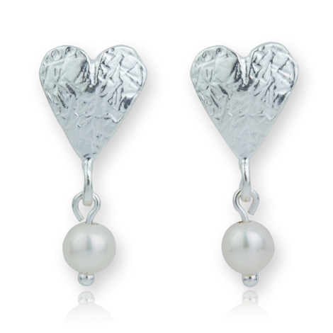 Sterling Silver Heart with Pearls Stud Earrings  WAS £55.00 NOW £45.00 | Image 1