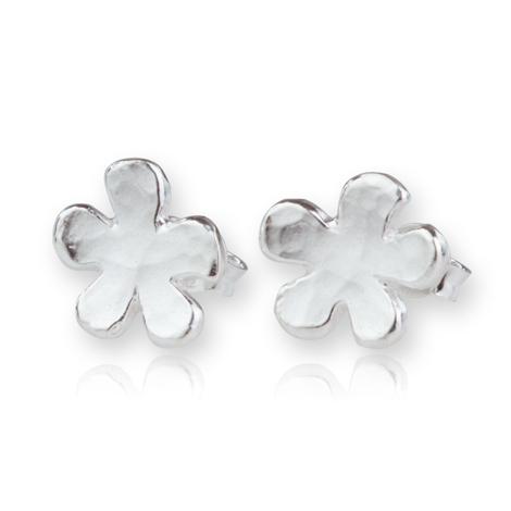 Sterling Silver Hammered Daisy Stud Earrings | Image 1
