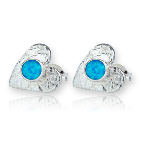 Sterling Silver Hearts with Opals Stud Earrings | Image 1
