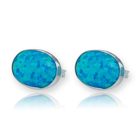 Sterling Silver Stud Earrings with Opals | Image 1