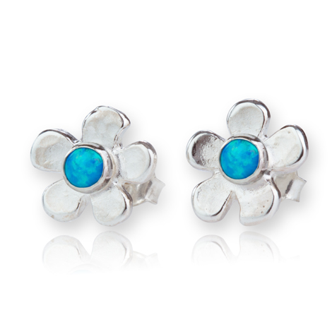 Sterling Silver Daisy with Opals Stud Earrings | Image 1
