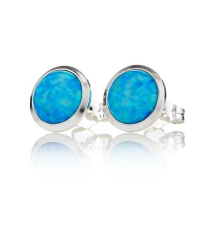 6mm Blue Opal Stud Earrings | Image 1