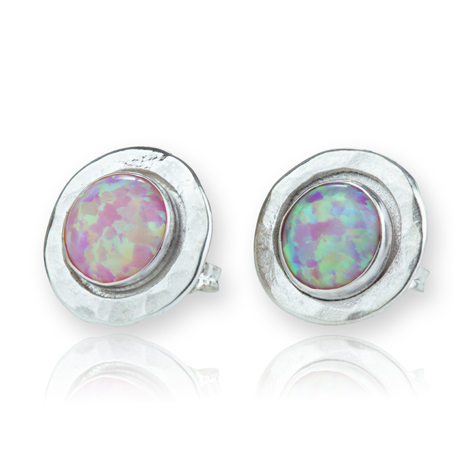 Sterling Silver Hammered White Opal Earrings | Image 1