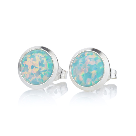 7mm Green Opal Stud Earrings | Image 1