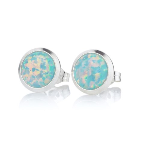 8mm Green Opal Stud Earrings  | Image 1
