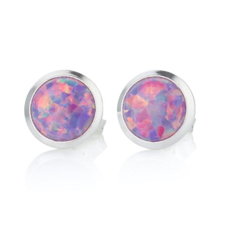 Sterling Silver Pink Opal 4mm Stud Earrings | Image 1