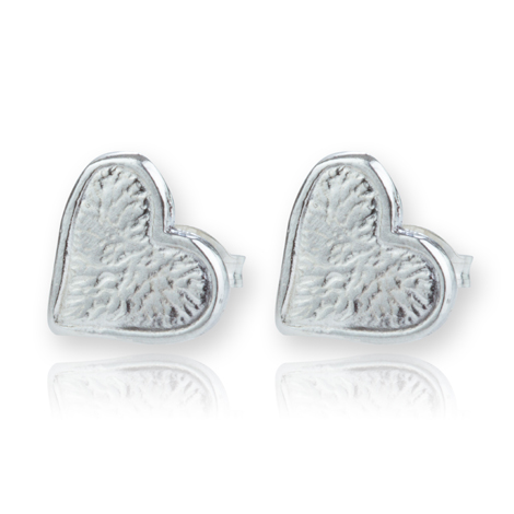 Contemporary Silver Heart Stud Earrings | Image 1