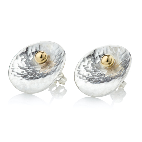 Silver and Gold Oyster Stud Earrings | Image 1