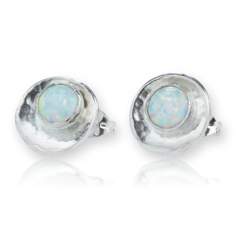Silver Oyster White Opal Stud Earrings | Image 1