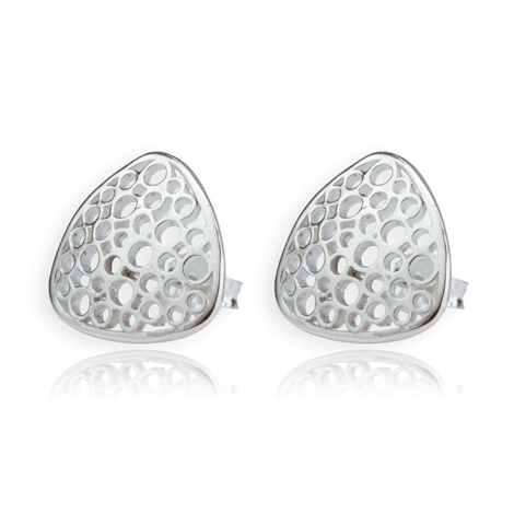 Contemporary Sterling Silver Chasm Stud Earrings | Image 1