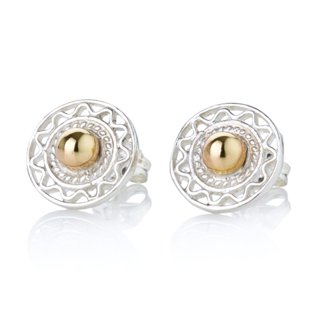 Gold and Silver Filigree Stud Earrings | Image 1