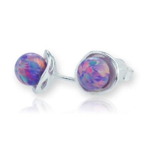 Silver and Opal Stud Earrings | Image 1