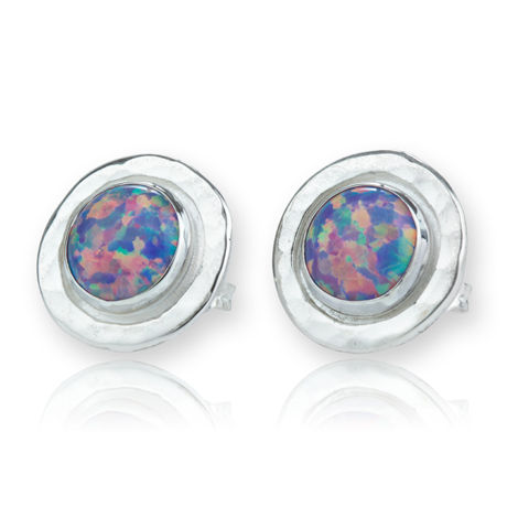 Large Silver Opal Stud Earrings | Image 1