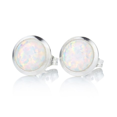 10mm White Opal Stud Earrings | Image 1