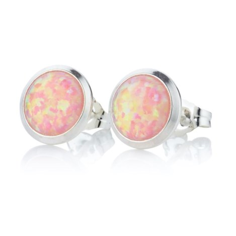 10mm Pink Opal Stud Earrings | Image 1