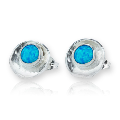 Silver Oyster Shell Blue Opal Earrings | Image 1