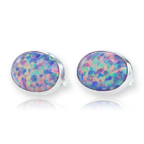 Sterling Silver Purple Opal Stud Earrings | Image 1
