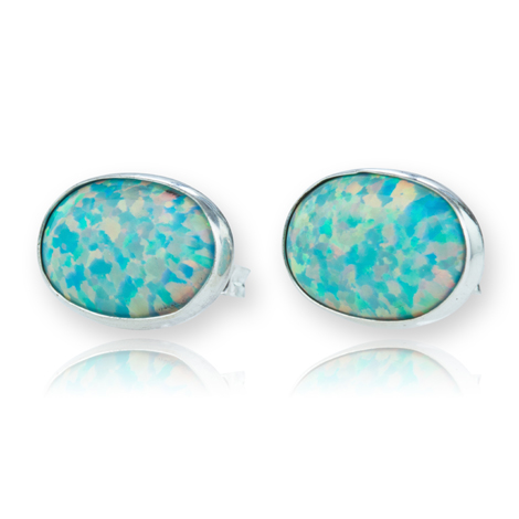 Sterling Silver Green Opal Stud Earrings | Image 1