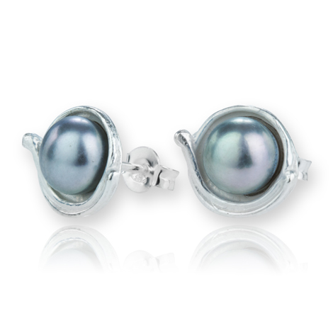Sterling Silver Grey Pearl Stud Earrings | Image 1