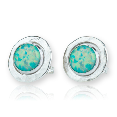 Round Hammerd Large Silver Opal Stud Earrings | Image 1