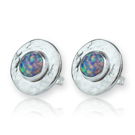 Silver Hammered Purple Opal Stud Earrings | Image 1