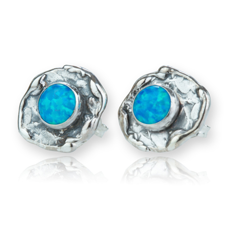 Silver Hammered Blue Opal Stud Earrings | Image 1