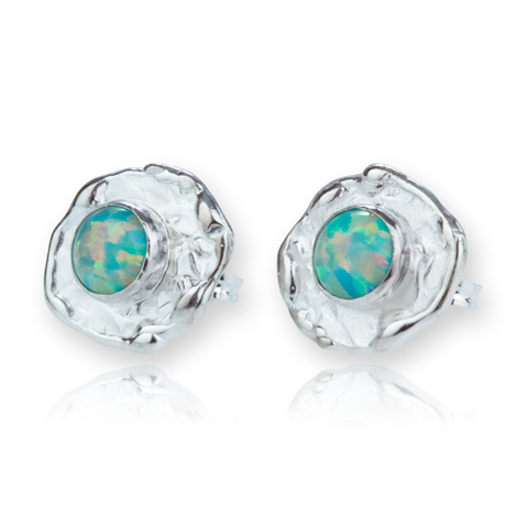 Silver Hammered Green Opal Stud Earrings | Image 1