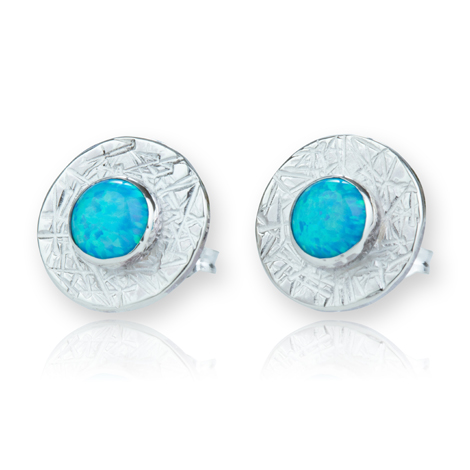 Sterling Silver Textured Opal Stud Earrings | Image 1
