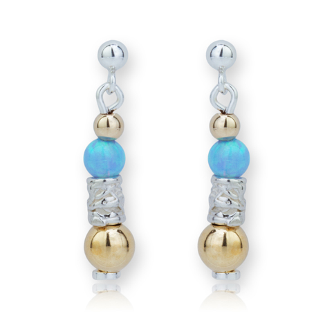 Gold and Silver Opal Drop Earrings | Image 1
