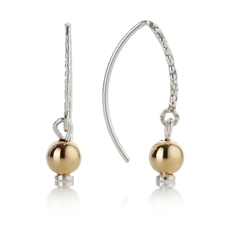 Gold and Silver Drop Hoop Earrings | Image 1
