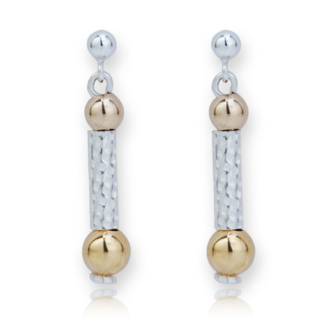 Silver and Gold Drop Earrings | Image 1