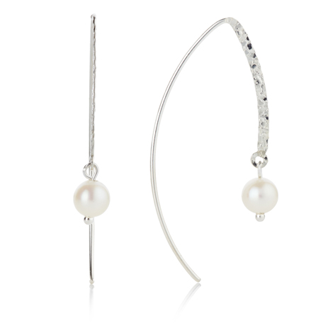 Silver and Pearls Hooked Drop Earrings | Image 1