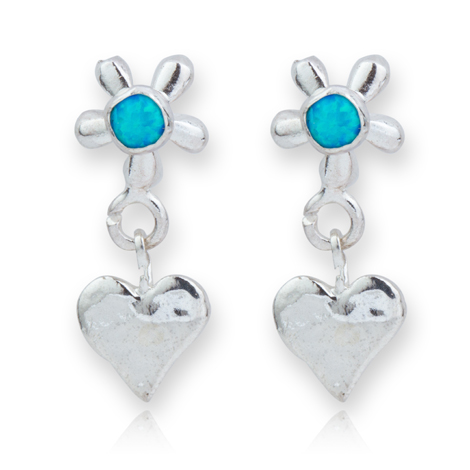 Silver and Opal Heart and Flower Drop Earrings | Image 1