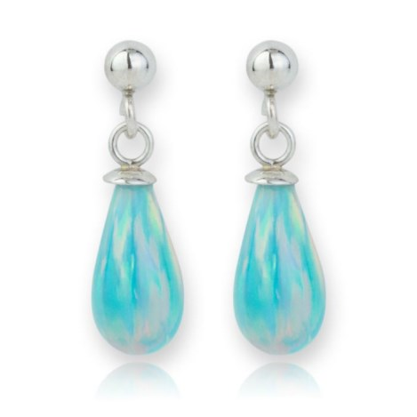 Silver and Green Opal Teardrop Earrings | Image 1