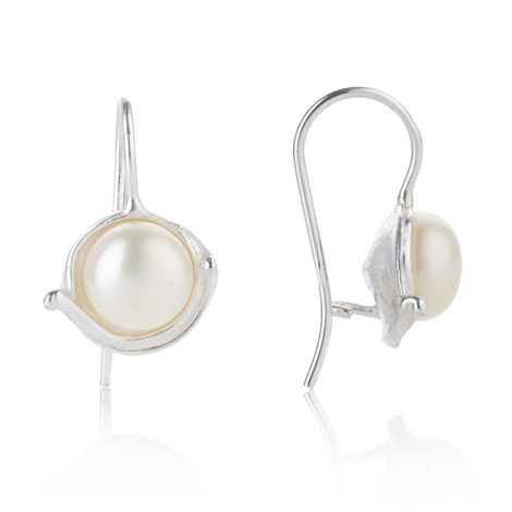 Silver Drop Earrings with White Pearls | Image 1